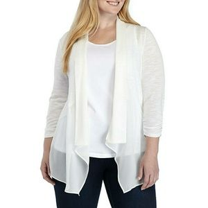 Kim Rogers Plus Size Ruched Sleeve Cardigan 3X